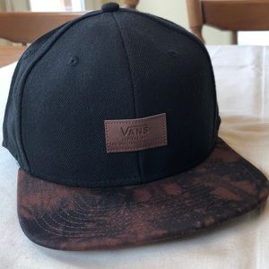 32207187eec EUC Vans Off the Wall Black Brown Baseball Cap Hat